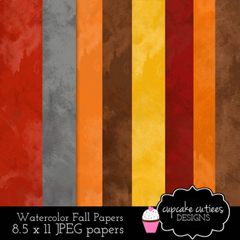 Watercolor Fall Autumn Digital Paper Pack 8.5 x 11 JPEG