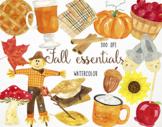 Watercolor Fall Clipart, Fall Graphics, Autumn Clipart, Au