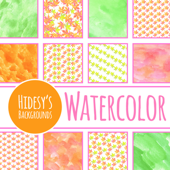 Watercolor Fall Leaves - Autumn Maple Leaves Digital Paper / Background