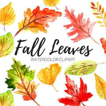 Watercolor Fall Leaves Clip art