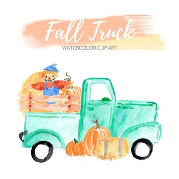 Watercolor Fall Truck Clipart