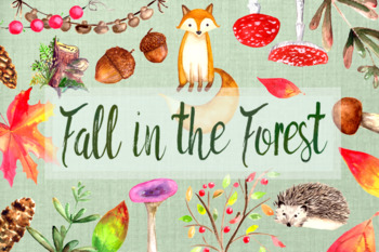 Watercolor Fall in the Forest Clip Art Set