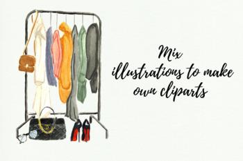 Watercolor Fashion Cliparts, Chanel Clipart, Champagne Glass