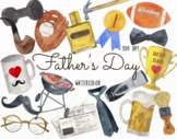 Watercolor Father's Day Clipart, Father's Day Graphics, Fa