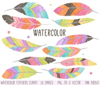 Watercolor Feather Clipart Clip Art, Tribal Feather Clip Art Clipart