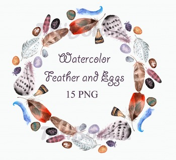 Watercolor Feathers and Eggs Clip Art