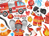 Watercolor Firefighters Clipart