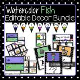 Watercolor Fish Classroom Decor Bundle in Polka Dot