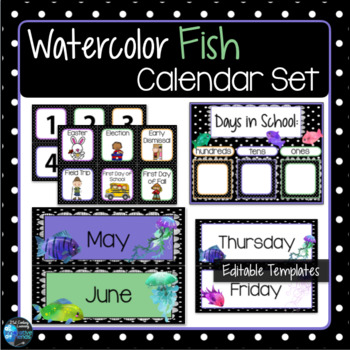 Watercolor Fish Theme Calendar Set