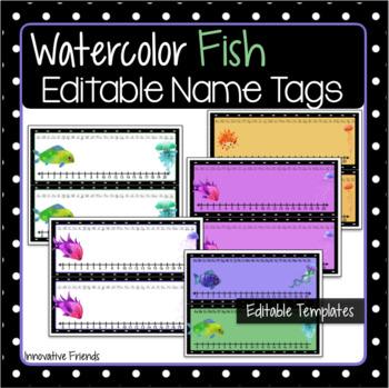 Watercolor Fish Theme Desk Name Tags