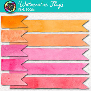 Watercolor Flags Clip Art {30 Hand-Painted Rainbow Page Elements}