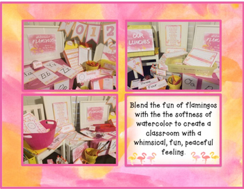 Watercolor Flamingo Classroom Set Up & Decor