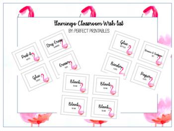 Watercolor Flamingo Classroom Wish List - Editable