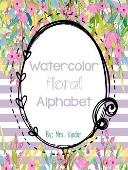 Watercolor Floral Alphabet Posters