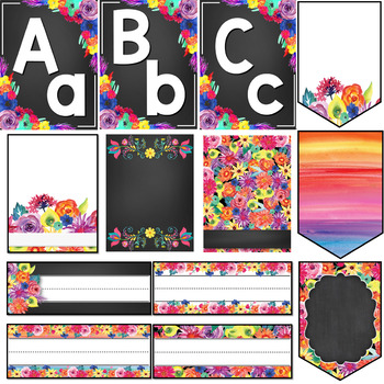 Watercolor Floral Brights Classroom Theme Bundle