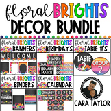 Watercolor Floral Brights Classroom Theme Bundle