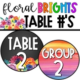 Watercolor Floral Brights - Table/Group Numbers