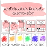 Watercolor Floral Classroom Decor: Color, Number, and Shap
