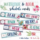 Watercolor & Floral Daily Schedule Cards - Editable!