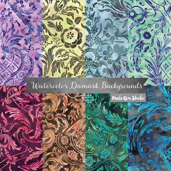 Watercolor Floral Damask Digital Paper