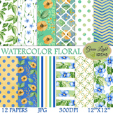 Watercolor Floral Digital Papers / Floral Backgrounds / Watercolor Flowers