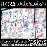 Watercolor Floral - EDITABLE Class Values Posters!