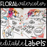 Watercolor Floral EDITABLE and RESIZABLE Labels