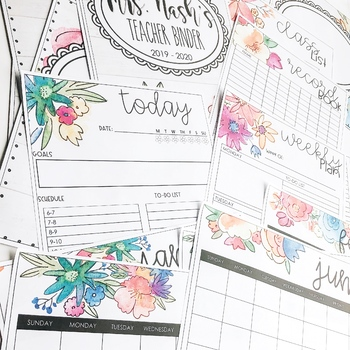 Watercolor Floral - Editable Binder Covers & Helpful Classroom Forms