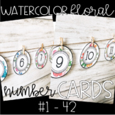 Watercolor Floral Number Cards / Labels for cubbies, students numbers, MORE!