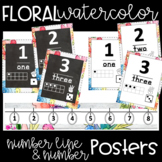 Watercolor Floral Number Posters & Number Line