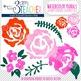 Watercolor Floral Pieces: Digital Clipart Set