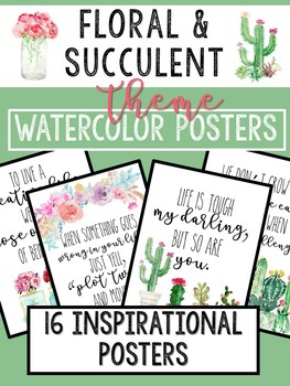 Watercolor Floral & Succulent Theme Inspirational Posters