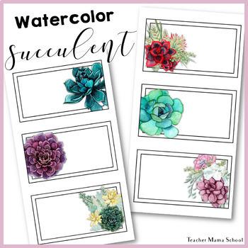 Watercolor Floral Succulent Theme Teacher Toolbox Labels