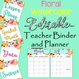 Watercolor Floral Teacher Binder and Planner (Editable)