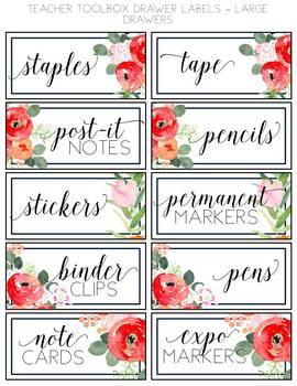 Watercolor Floral Teacher Toolbox Labels {EDITABLE}