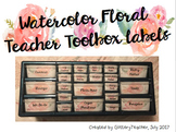 Watercolor Floral Teacher Toolbox Labels - Includes Blank