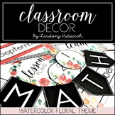 Watercolor Floral Theme Classroom Decor {EDITABLE}