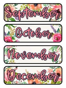 Watercolor Floral Themed Pocket Chart Subject Schedule Cards & Calendar