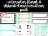 Watercolor Floral and Striped Decor Pack!