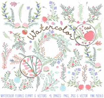 Watercolor Flower Clipart Clip Art, Watercolor Floral Clip
