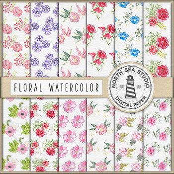 Watercolor Flower Digital Paper