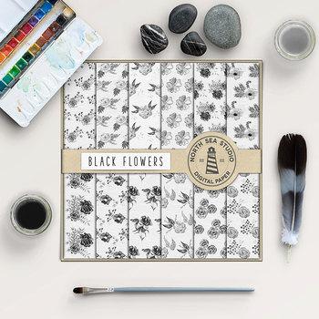 Watercolor Flower Patterns - Black Flower Backgrounds