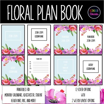 Watercolor Flower Teacher Planner 2018-2019