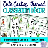 Cute Cactus-themed Classroom Decor EARLY READERS FONT (Partially editable)