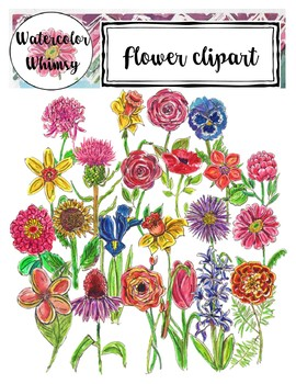 Watercolor Flowers Clipart (Watercolor Whimsy)