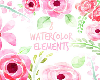 Watercolor Flowers, Floral Clipart, for personal and commercial use