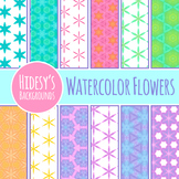 Watercolor Flowers Patterns / Digital Papers Clip Art Set for Commercial Use