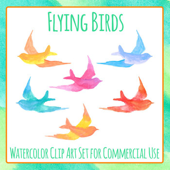 Watercolor Flying Birds Clip Art Set for Commercial Use