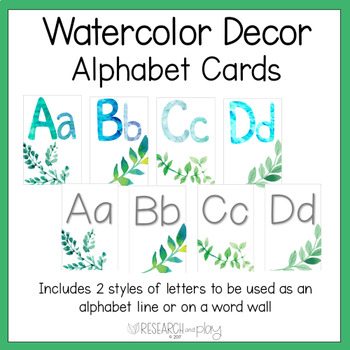 Watercolor Decor Alphabet Word Wall Cards