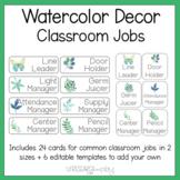 Watercolor Decor Editable Class Jobs